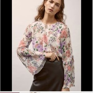 Massimo Dutti Floral Bell Sleeves